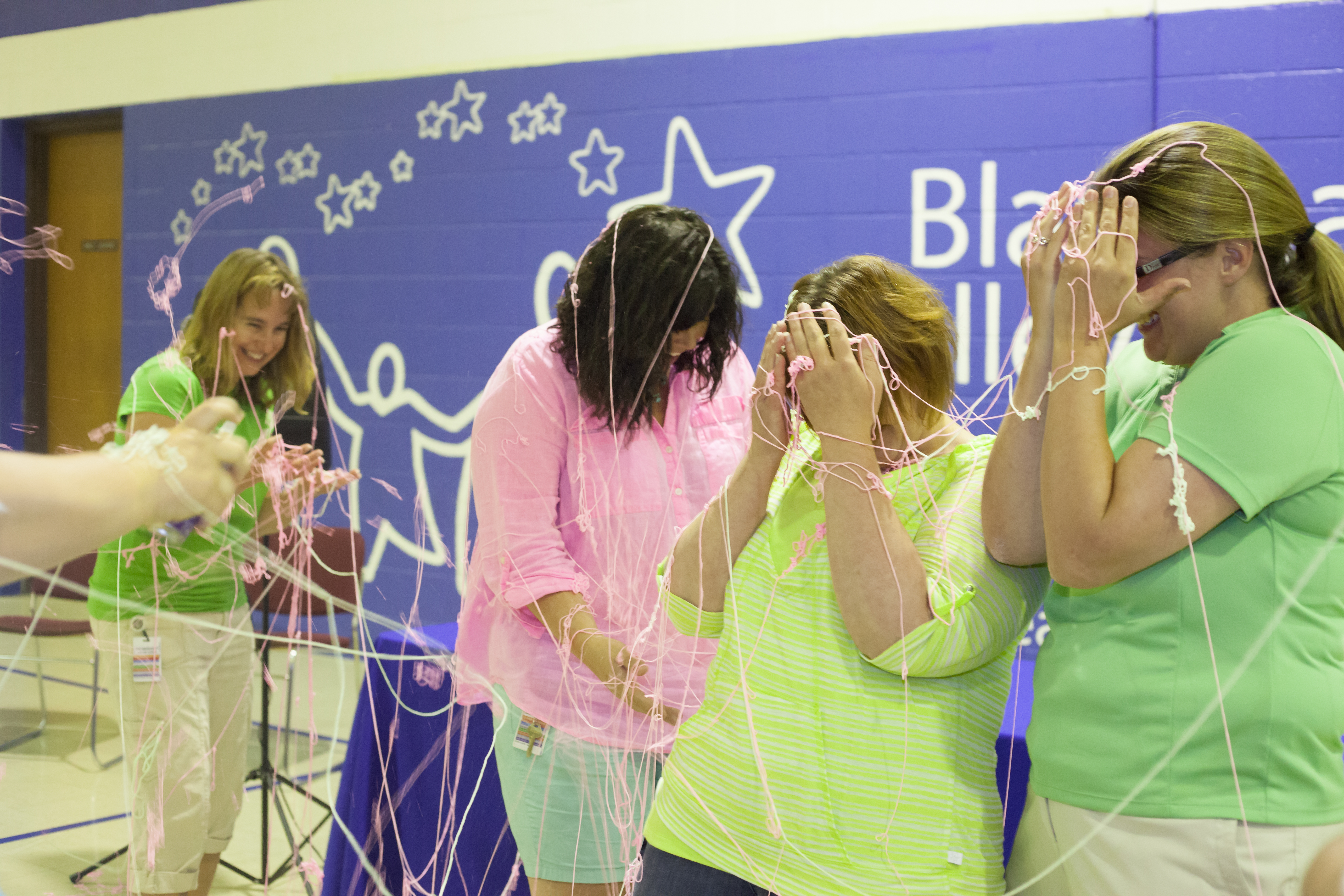 Silly String contest at Blanchard Valley School
